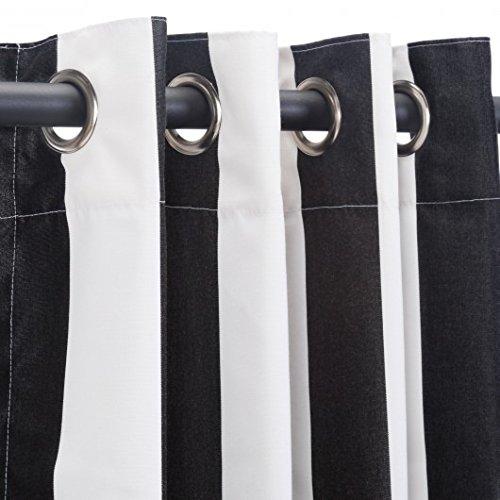 Pawleys Island Hammocks Cabana Black Sunbrella Nickel Grommeted Outdoor Curtain (50 x 108) by Pawleys Island Hammocks