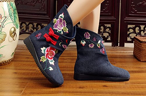 Avacostume Femmes Broderie Grenouille Appartements Anti-dérapant Bottes Bleu