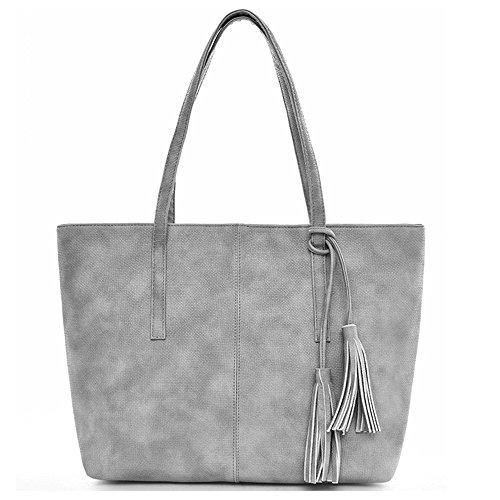 fourre tout sac PU Gris Noir cuir dames femmes à Tibes sac sac main en d'épaule Ex8fSFnqW0