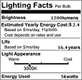 CRLight LED Edison Bulb 10W 14W Soft White Non-dimmable