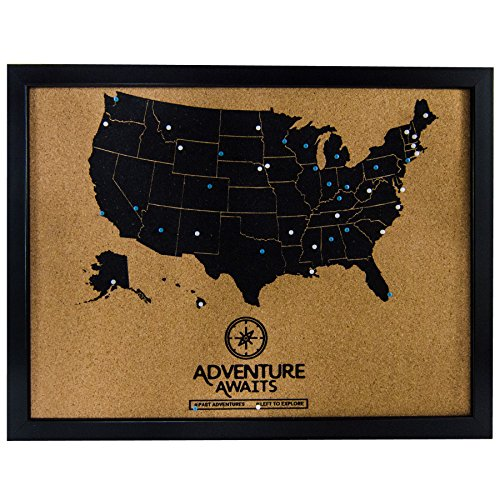 Pushpin Cork Board USA Map and Pins | US Travel Tracker Map to Track Past and Future Bucket List Destinations (Framed Us Map)