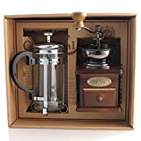 DELISI Classic Vintage Wooden Manual Coffee Grinder & Silver French Press Coffee/Tea Maker Set With Gift Box, Set of 2