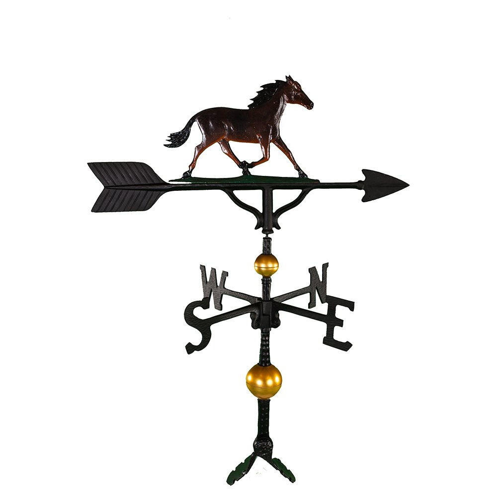 Montague Metal Products 32-Inch Deluxe Weathervane with Color Horse Ornament