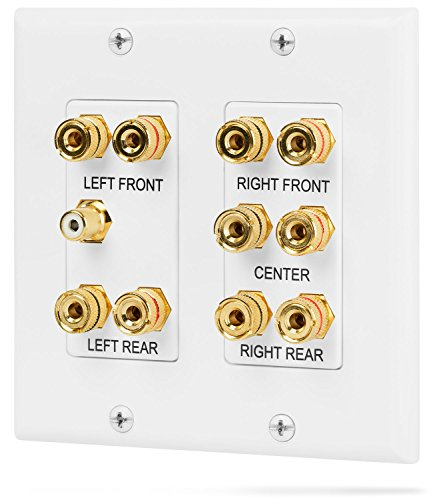 Fosmon [2-Gang 5.1 Surround Distribution] Home Theater Wall Plate - Premium Quality Gold Plated Copper Banana Binding Post Coupler Type Wall Plate for Speakers and RCA Jack for Subwoofer (White) (Toggle Wall Type Plate)
