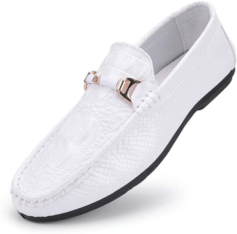 Jun Mens Casual Loafer Slip-on Moccasin Boat Shoes Flat Driving Shoes Color : White, Size : 9.5 M US