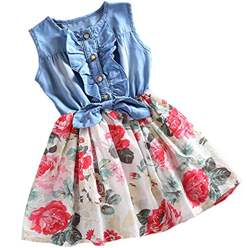 Rysly Little Girls Casual Sleeveless Denim Dress Floral Princess Dress for Kids 150 Light Blue (Blue Floral Denim)