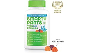 Daily Gummy Multivitamin Teen Guy: Biotin, Vitamin C, D3, E, B12, A, Omega 3 Fish Oil DHA/EPA, Zinc, Iodine, Choline, Folate (Methylfolate) by Smartypants (120 Count, 30 Day Supply)