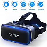 SILMIEN 3D VR Glasses Upgrade Replaceable Leather Patch Even For Near-Sighted Adjustable Pupil & Object Distance Separately Durable & Stain-Resistant Portable Virtual Reality Headset Movies and Games For IOS & Android