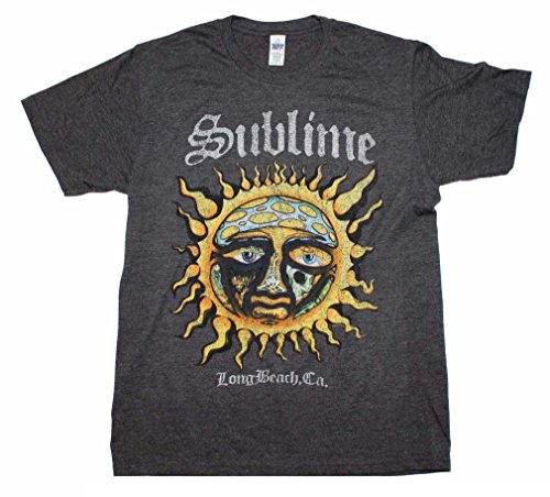 (FEA Sublime Logo Stamp Sun Long Beach, CA Soft T-Shirt, Heather (Small))