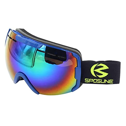 bc343636a9c3 Amazon.com  Ski Goggles Men and Women Climbing Goggles Double Anti-Fog Wind  Mirror Snow Mirror (Color   Black