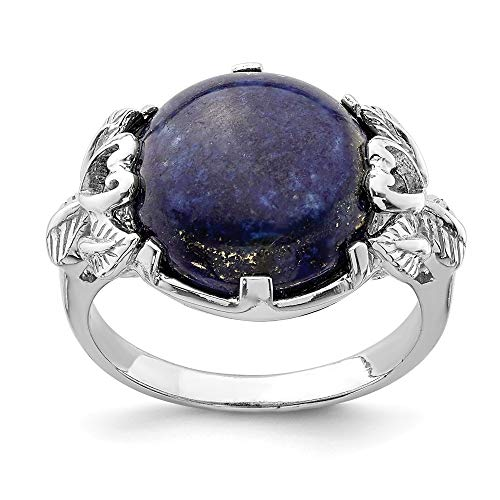 - 925 Sterling Silver Lapis Lazuli Band Ring Size 8.00 Natural Stone Fine Jewelry Gifts For Women For Her