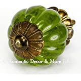 Green Peridot Glass Cabinet Knobs, Kitchen Drawer Pulls & Handle Set/2pc ~ K185FF Vintage Style Pumpkin Shaped Glass Knobs with Florentine Hardware, for Dresser, Drawers, Cabinets & Vanity