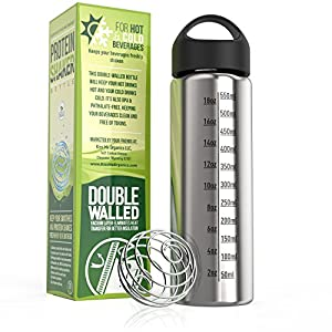 Stainless Steel Water Bottle - Vacuum Insulated Flask with Stainless Steel Shaker Ball - 20-Ounce Shaker Bottle And 1 Shaker Ball - From Kiss Me Organics Essentials