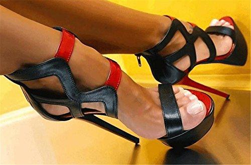 Ocio Dedo Tacones Altos Sandalias Black Pie Club Mujer Roma Del Abierto Boda Zapatos TamañO Stiletto DZW FqE1Iwn