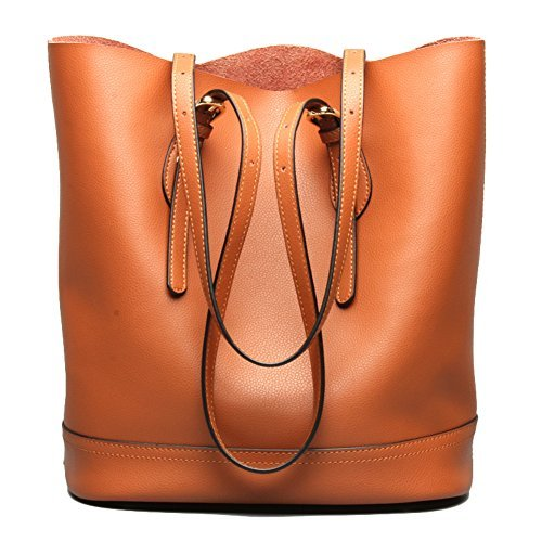 Women's Handbag Genuine Leather Tote Shoulder Bucket Bags Elegant Style Large Capacity (Brown)