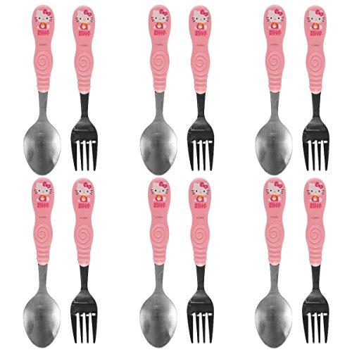 Japanese Character Set (Zak! (12pc) Hello Kitty Flatware Set Kids Silverware Spoons & Forks Sanrio Tableware, 6 Sets)