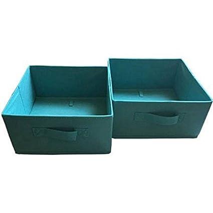 Collapsible Storage Bins 2 Pack. Half Size Color Aqua Ocean