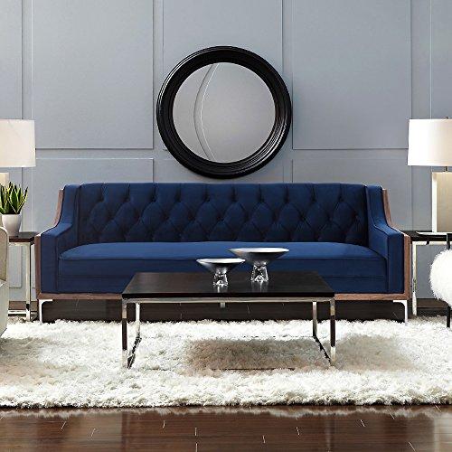 Velvet Button Tufted Sloped Arm with Walnut Finish and Silvertone Chrome Y-leg Sofa , Navy Blue (Sofa Presley)