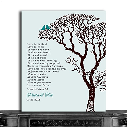 9.5x12 Metal Art Print Personalized Gift For Couple Anniversary Gift Corinthians Love is Patient Teal And Brown Custom Wedding -