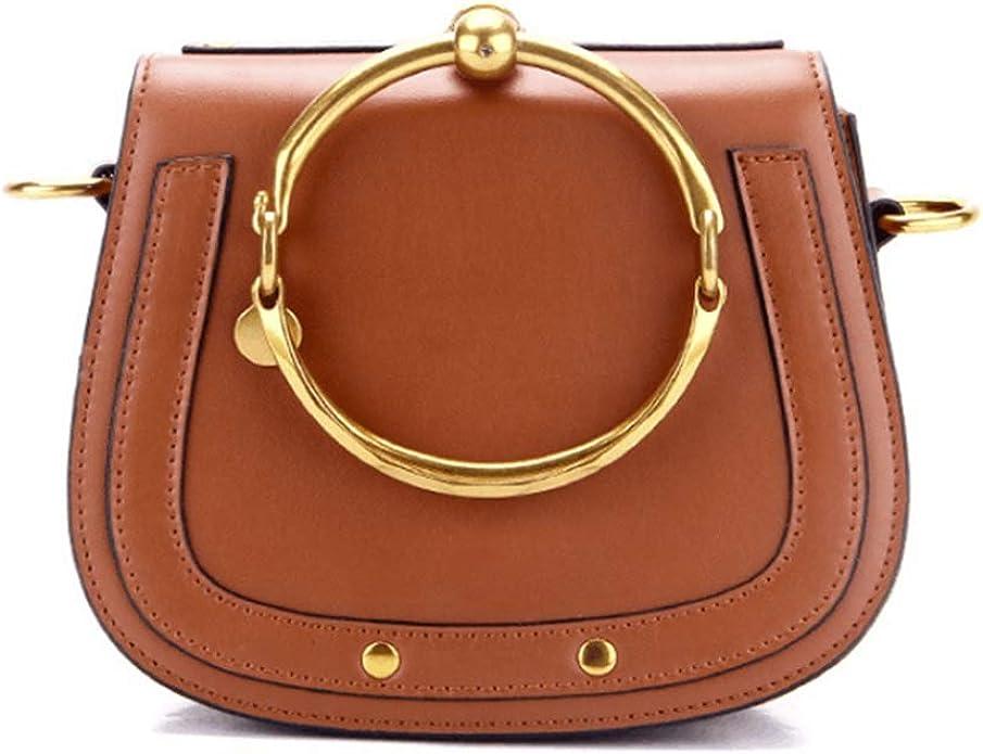 AIYAMAYA Womens Leather Handbags Round Shape Top handle Shoulder Purse Crossbody Bag