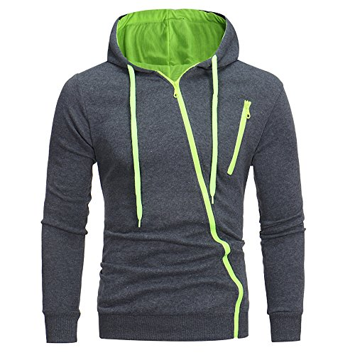 - Sunhusing Men's Solid Color Long-Sleeve Hooded Pullover Sweater Diagonal Zipper Pocket Casual Sweatshirt Coat