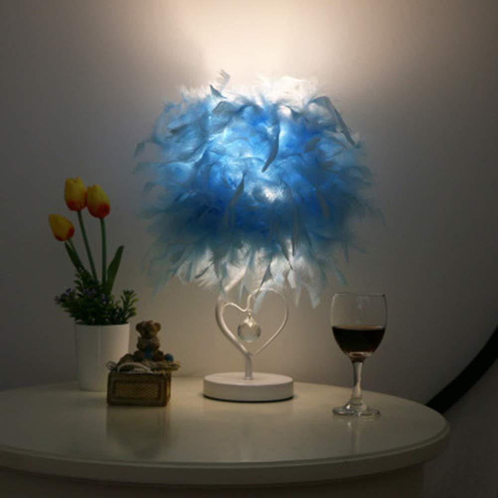 D JYL Feather Tischlampe, Lesezimmer am Bett Wohnzimmer Herzform Feather Crystal LED Schreibtischleuchte Warmes Licht Nachttischlampe mit Fernbedienung