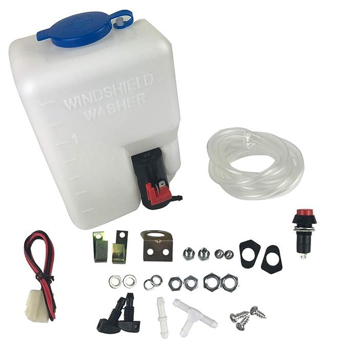 12V Universal del Parabrisas del Coche Kit Lavadora Botella Jet Pump Interruptor de botón Herramientas de Limpieza de Repuesto para Escarabajo: Amazon.es: ...