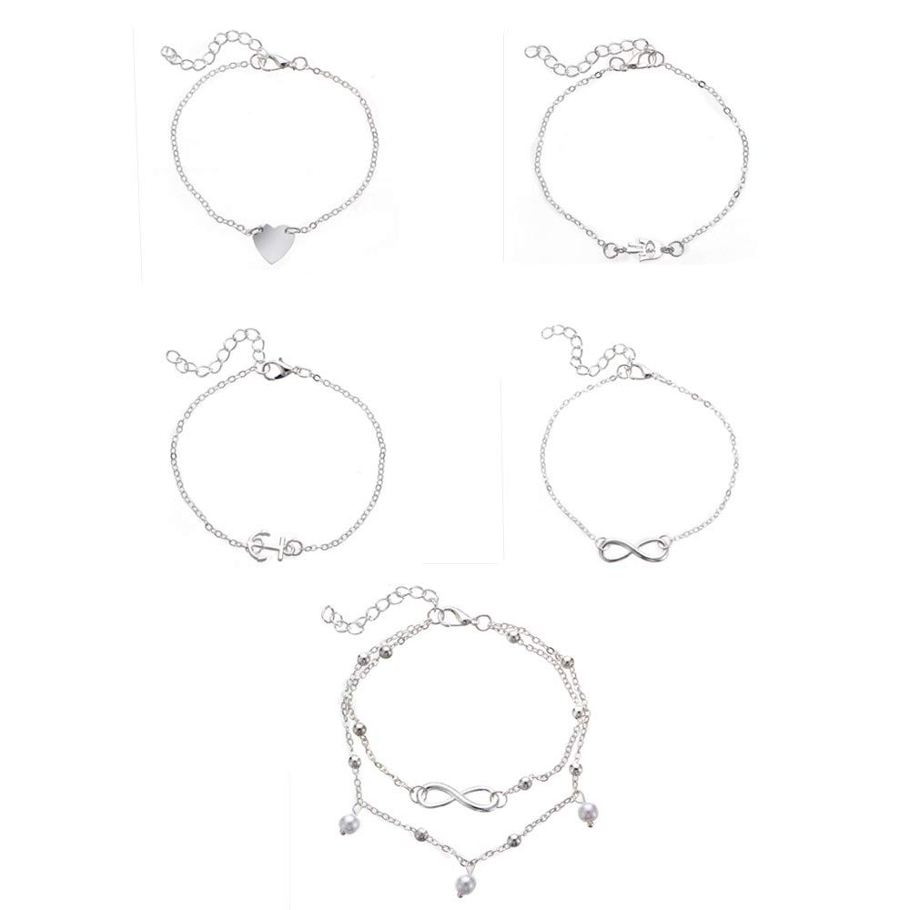 Little sheep 5piece Pearl Size Adjustable Anklet Women Double Chain Ankle Anklet Bracelet Barefoot Sandal Beach Foot Gift (Silver)