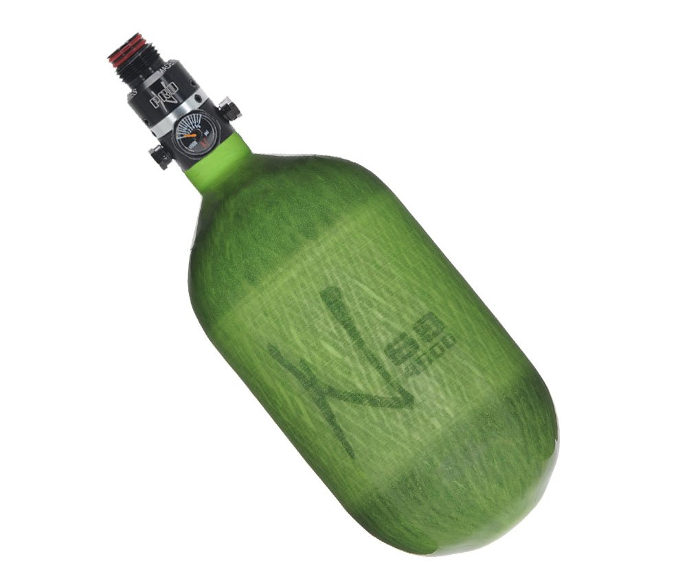 Ninja Paintball Pro V2 Compressed HPA Air Tank Standard Adjustable Regulator (ALL COLORS / SIZES) (68/4500 Carbon, Pro V2 Adj Reg, Translucent Lime, 68ci) by Ninja Paintball