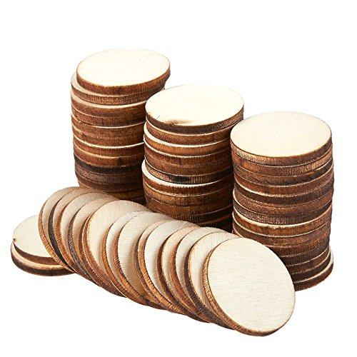 Unfinished Wood Slices - 60-Count Round Natural Rustic Wood Circles, Wooden Log Slices for DIY Craft, Wedding Decoration, Home DecorCenterpieces, 1-inch Diameter, 0.1 inch Thick