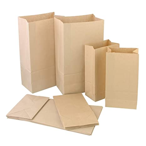 Amazon.com: CODIRATO 100 PCS Paper Lunch Bags Kraft Brown ...