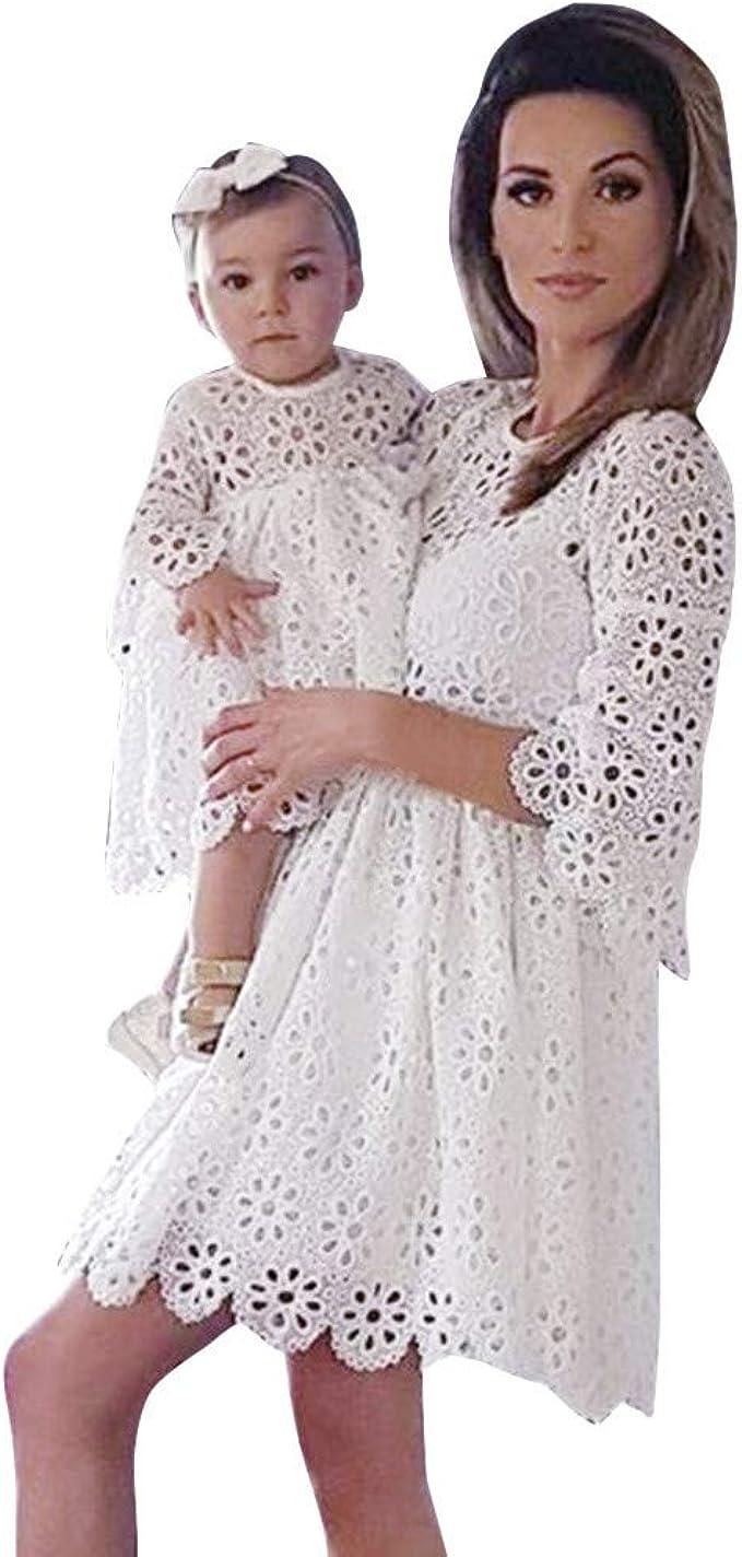 Mutter Tochter Kleid, Oyedens Mommy & Me Mutte und Tochter Baby Mädchen  Langarm Lace Match Tochter Familie Kleid Herbst Blumen Spitze Strandkleid