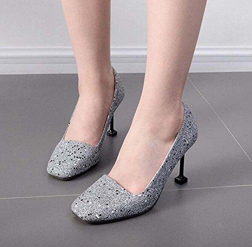scarpe da scarpe Square 41 9cm Pump Ol alti Sequins Size sposa sposa qOZUCwxFn