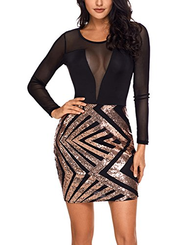 Dress Mini Women's Black SEBOWEL Champagne Sexy Club Cutouts Sequins Mesh Bodycon Cocktail Sheer Ovaq0v