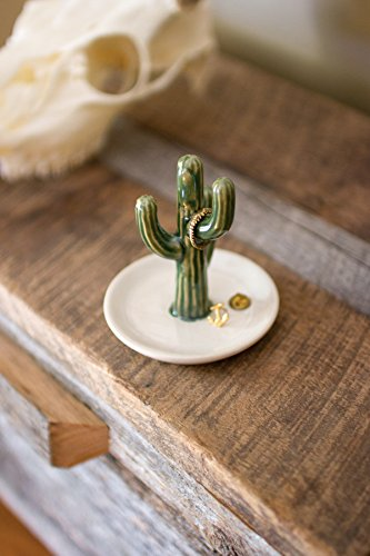 Kalalou CDV1721 Ceramic Cactus Ring Holder