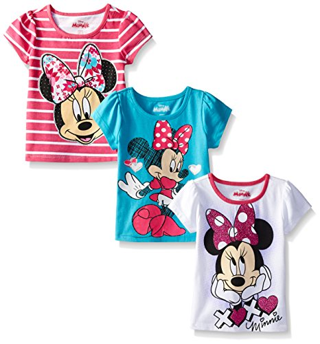 Disney Little Girls' 3 Pack Minnie T-Shirts, Pink, 5