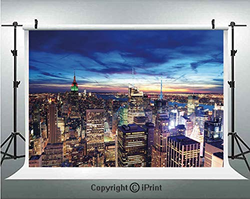 City Photography Backdrops Empire State and Skyscrapers of Midtown Manhattan New York Aerial View at Dusk,Birthday Party Background Customized Microfiber Photo Studio Props,10x6.5ft,Tan Navy Blue Aqua