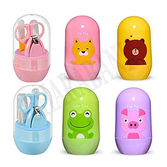 SHARABANI Baby's 4-In-1 Baby Nail Grooming Care Set, Baby Nail Clippers, Scissor, Nail File and Tweezer, Nail, Manicure