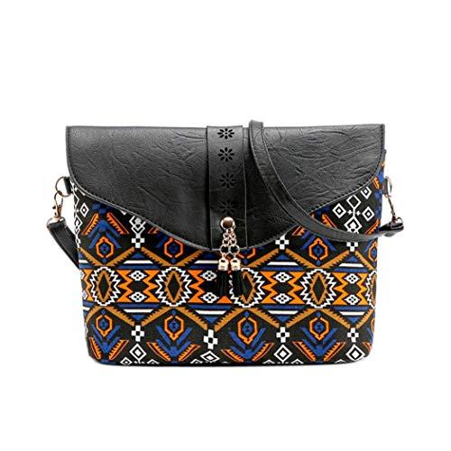 Kanpola Fashion Women Flower Print Handbags Bag Sweet Pattern Shoulder Messenger Bag Black Black