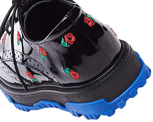 Mujer Zapatos Plataforma 5CM Qaxci 3 Negro Cordones con Bailarinas Cuero Arraysa PSqfRFnwR