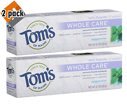 Tom's of Maine Whole Care with Fluoride Natural Toothpaste, Peppermint 4.7 oz (Pack 2)