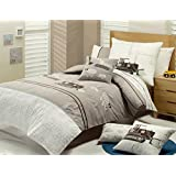 Auvoau Bedding Set, Excavator Truck Construction Vehicles Kids Boys Duvet Cover Sets (Full, 4pc without comforter)