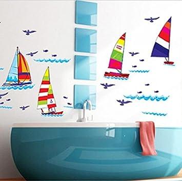 Muurstickers Kinderkamer Zee.Moderne Muursticker Vrolijke Zeilboten Zeilen Op Zee Boten