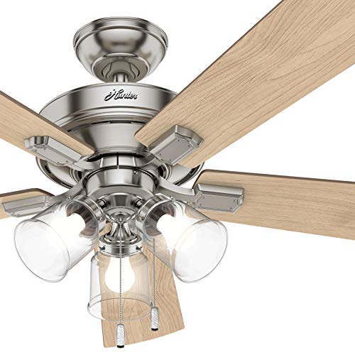 Hunter Fan 52 inch Casual Brushed Nickel Indoor Ceiling Fan 5-Blades with LED Lights Renewed