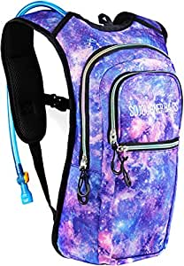SoJourner Bags Rave Hydration Pack Backpack - 2L Water Bladder included for festivals, raves, hiking, biking, climbing, running and more One Size Galaxy