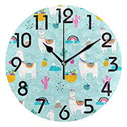 Dozili Cute Llama Alpaca Cactuses Fruits Fresh Pattern Round Wall Clock Arabic Numerals Design Non Ticking Wall Clock Large for Bedrooms,Living Room,Bathroom