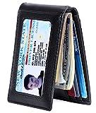 Mens Money Clip Wallet, RFID Blocking Genuine Leather Slim Front Pocket Wallet
