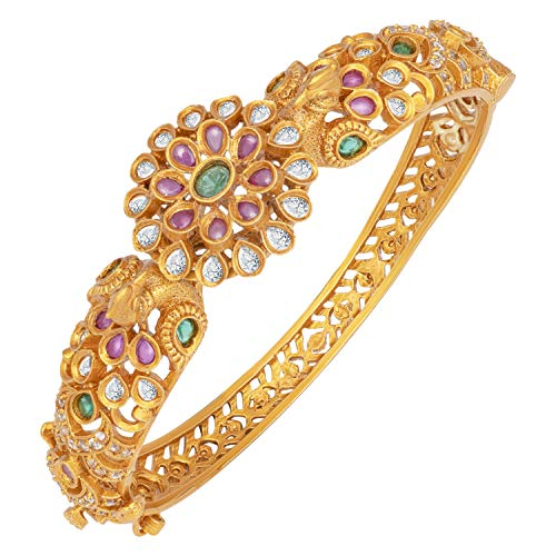 Aheli South Indian Style Bracelet Kada Bangle Peacock Design Ethnic Wedding Wear Temple Jewelry for Women
