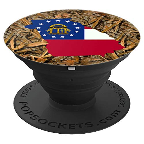 State of Georgia Flag Silhouette Duck Hunting Camo Gift - PopSockets Grip and Stand for Phones and Tablets