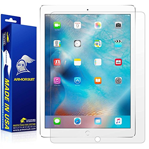 "Free ArmorSuit MilitaryShield - Apple iPad Pro 12.9"" Screen Protector Anti-Bubble Ultra HD & Touch Responsive + Lifetime Replacement"